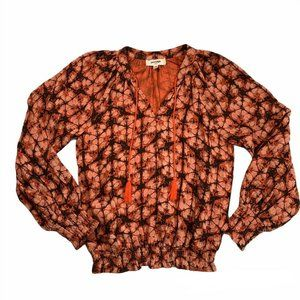 Anthropologie Porridge sz Small Elisabeth Peasant Top Tie Dye Ikat Print Boho